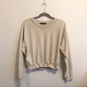 Abercrombie & Fitch White Smocked Sweatshirt